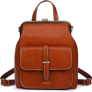 ECOSUSI Rucksack Damen Rucksackhandtaschen Vintage Klein Daypack Tagesrucksack Kunstleder Wasserabweisend Reise Rucksack B...