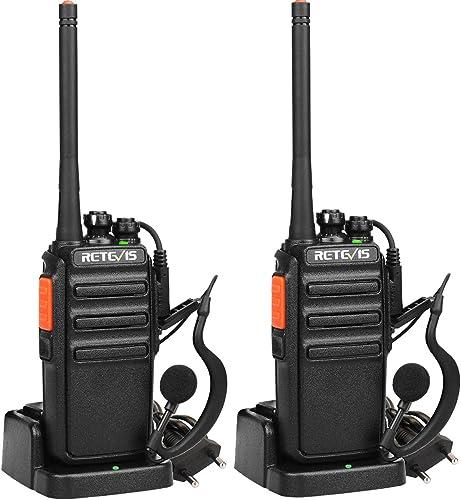 Retevis RT24 Talkie Walkie 16 Canaux PMR Radio, Libre Longue Portée Radio, Rechargeable Charge avec Adaptateur pour F...