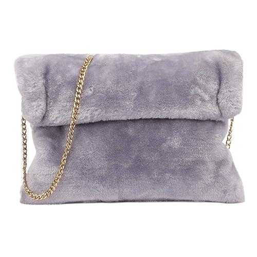 07a0cc900b Classical Soft Envelope Faux Fur Bag Clutch Bag Crossbody Purse with Chain  Strap
