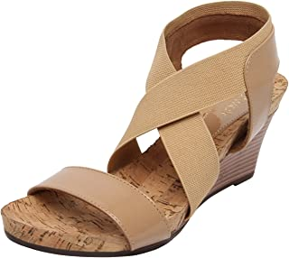 Catwalk Beige Leather Wedges Sandals for Women's