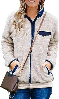 Womens Long Sleeve Full Zip Sherpa Jackets Patchwork...
