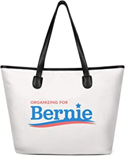 Women Bernie Sanders 2020 Logo Canvas Shoulder Bags Large Capacity Tote Foldable Zippered Tote Creamy-White
