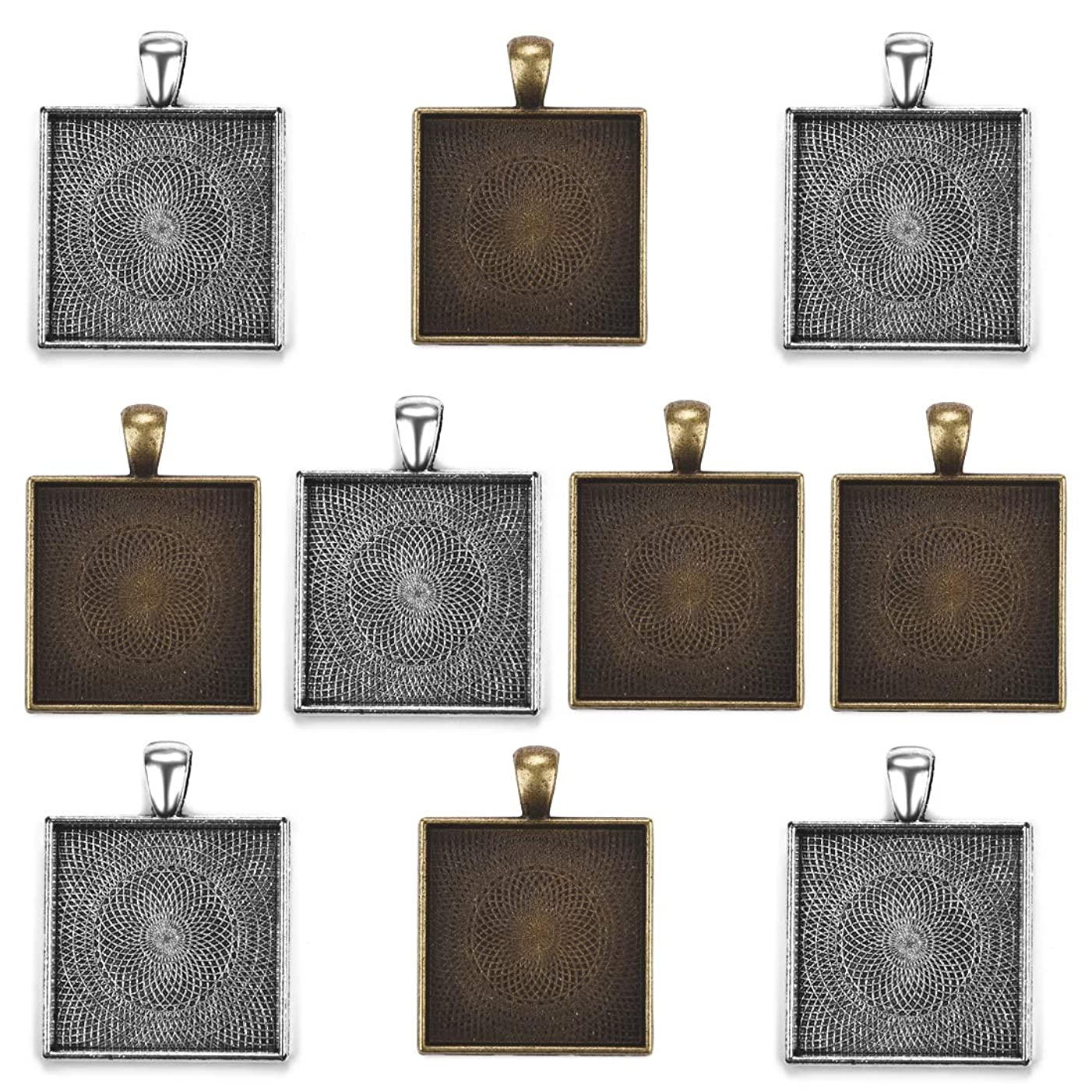 10Pcs Pendant Trays Square Bezel for Jewelry Making Jewelry Pendant Trays Jewelry Findings Cabochon Frame Setting Tray Pendant 2 Colors 25mm
