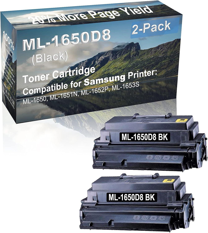 2-Pack Compatible High Capacity ML-1650D8 Imaging Toner Cartridge use for Samsung ML-1650, ML-1651N, ML-1652P, ML-1653S Printer (Black)
