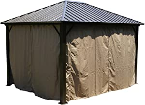 Kozyard Rosana Hardtop Aluminum Permanent Gazebo with 2-Layer Sidewalls (10ftx12ft)