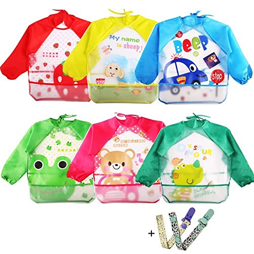 Coceca 6 Pcs baby sleeved bibs for 1-3 Years old Infants f877ec340
