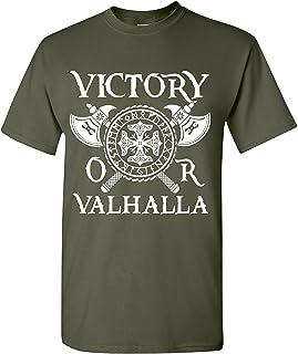Victory or Valhalla Viking T-Shirt Mens Viking Heritage Tee Shirt Vahalla Odin T-Shirt