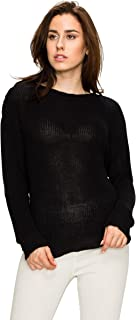 LL WSK1952 Women's Lace up Front V Neck Long Sleeve Knit Pullover Sweater
