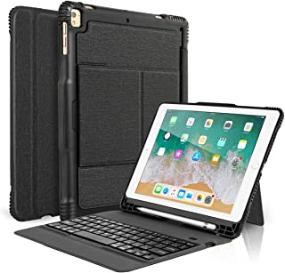 Coastacloud New 2018 iPad 9.7 Keyboard Case with Pencil Holder, Detachable Bluetooth Keyboard with Shockproof Heavy Duty Full-Body Protective Case for iPad 9.7 2018/2017 / iPad Pro 9.7 / iPad Air