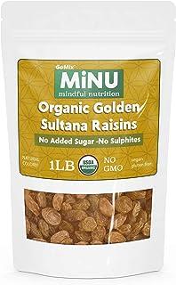MiNU Organic Golden Raisins Sultanas No Sulfur 16 oz (1 lb), Mindful Nutrition Sultanas No Added Sugar, Seedless, Superfood, Raw, Paleo, Vegan, NonGMO, Gluten Free