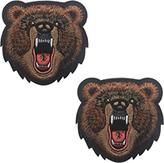 Bear Angry Grizzly Embroidered Badge Decorative Iron On Patches 3.15 x 3.15 inch 2PCS