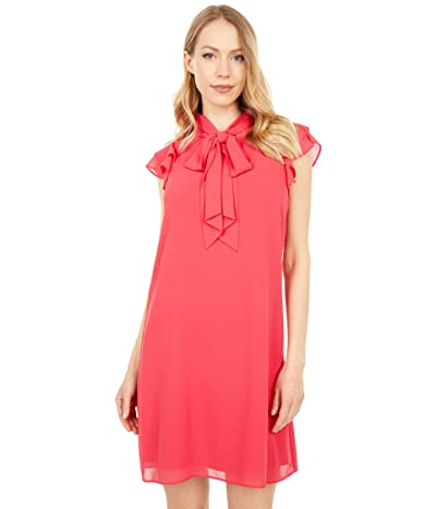 Vince Camuto Chiffon Ruffle Sleeve Tie Mock Neck Float (Coral) Women