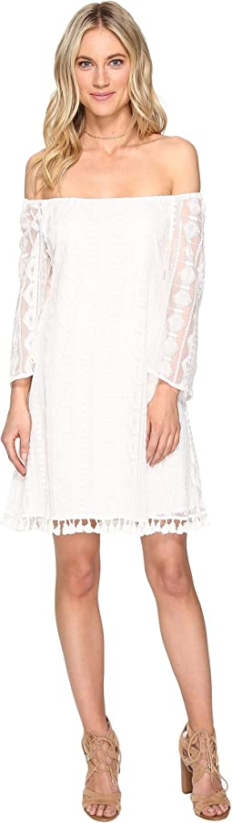 Denney Embroidered Off Shoulder Dress