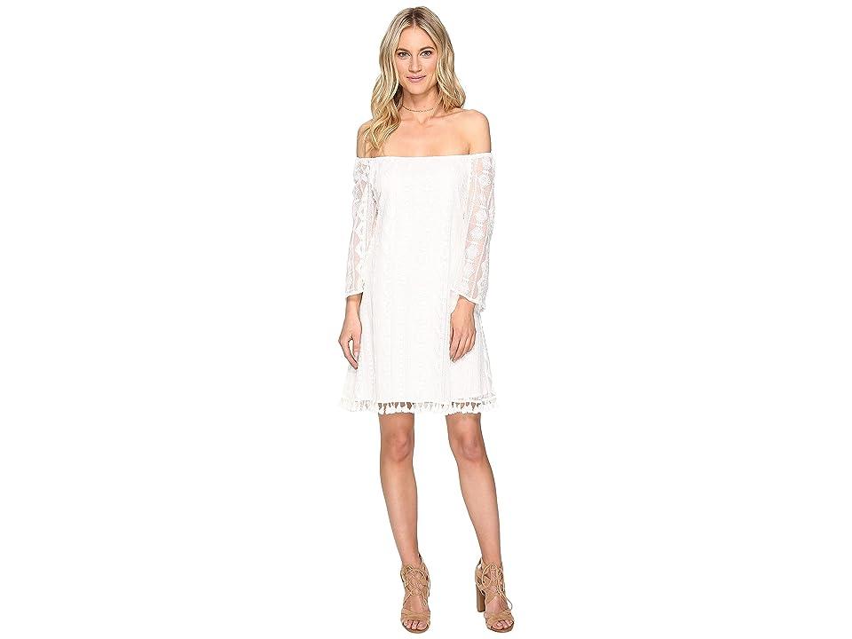 Jack by BB Dakota Denney Embroidered Off Shoulder Dress (Bright White) Women