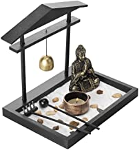 MyGift Mini Zen Sand Garden with Buddha Statue, Bell, Rake, Candle Holder & Tray