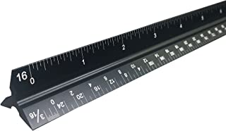 Intoy 12 Inch Architectural Scale Ruler with Laser-Etched Imperial Scales, Triangular Solid Aluminum Drafting Tools for Blueprints