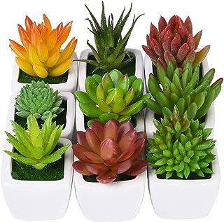 CHICHIC Set of 9 Mini Assorted Artificial Succulent Plants, Decorative Faux Succulents, Small Fake Plants for Decoration, ...