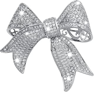 Real Gold Plated Cubic Zirconia Ribbon Bridal Bowknot Bow Brooch Pins or Pendant for Women