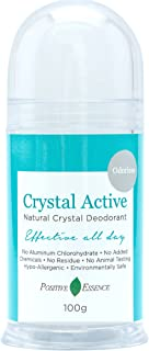 Crystal Deodorant Stone - Crystal Active by Positive Essence - 100% NATURAL, LONG LASTING, Single Ingredient, No Aluminum Chlorohydrate, Parabens, Chemicals, or Fragrances - Unscented/Odorless, Pushup Stick, Thai Rock for Men and Women, 100g