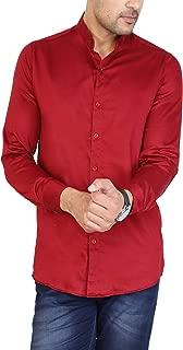 U TURN Men's Plain China Collar Shirt L