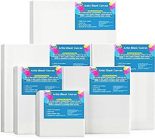 FEPITO 6 Set blanco gespannen canvas verschillende grootte kunstenaar canvas multipack doeken voor acryl olie water schild...