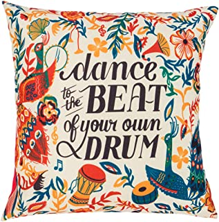 Chumbak Jungle Beats Cushion Cover- Decorative Cushion Cover, Home Essential, Throw Pillow Cover for Couch and Bedroom, Soft Cotton and Polyester Cover, Living Room Cushions Covers, 15.9x15.9