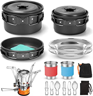 Odoland 16pcs Camping Cookware Mess Kit with Folding Camping Stove, Non-Stick Lightweight Pots Pan Set with Stainless Stee...