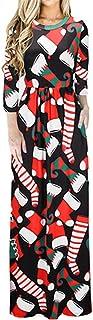 EASONDDD 全10色 レディース ワンピース ドレス サンタ クリスマス プリント 花柄 ロング ワンピース 秋 冬 七分袖 可愛い 弾性 ゆったり