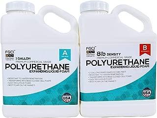 Fiberglass Coatings Polyurethane Expanding Liquid Foam 2 Gallon KIT, 8 LB Density Polyurethane Foam, Includes 1 Gallon Part A & 1 Gallon Part B, 2 Part Polyurethane Marine Foam