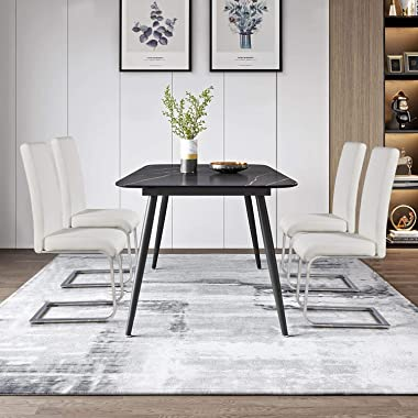 Yaheetech 4pcs Dining Chairs Armless Dining/Living Room Kitchen Chairs PU Leather Upholstered Seat and Metal Legs Side Chairs