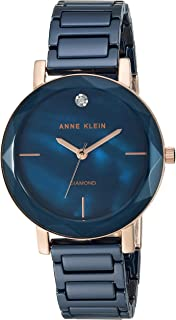 Women's Diamond-Accented Ceramic Bracelet Watch with Faceted Lens