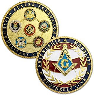 US Veteran Proud Military Family Coin Air Force Navy Marine Corps Army Coast Guard Challenge Coin Masonic Accessories