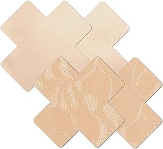 Women's Beige Creme Cross Waterproof Self Adhesive Fabric Nipple Cover Pasties