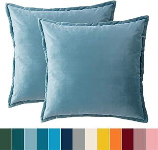 Bedsure Funda Cojin 40 x 40 Azul- Juego de 2 Fundas Cojines Decorativas de Terciopelo, Muy Suave, Funda de Almohada Cuadrada para Sofá, Dormitorio y Sala de Estar, con Cremallera