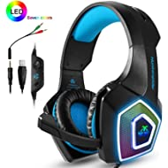 PS4 Headset,Xbox One Headphones,Gaming Headset with LED light,Stereo Gamer Headphones,3.5mm wired...