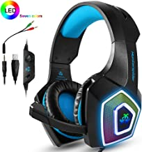 PS4 Headset,Xbox One Headphones,Gaming Headset with LED light,Stereo Gamer Headphones,3.5mm wired Over-ear Noise Isolating Microphone Volume Control for Mac(Black-Blue)