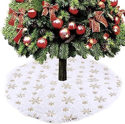 Falda de /árbol de Navidad Geboor 31 pulgadas Falda de /árbol de copo de nieve de piel sint/ética dorada Decoraciones navide/ñas Holi