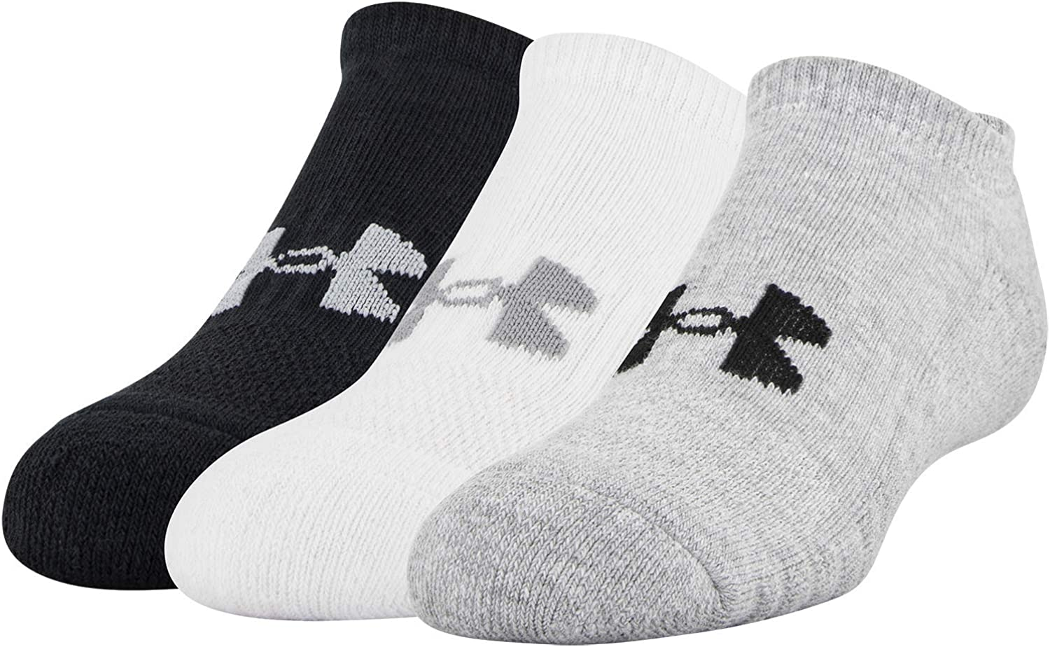 Under Armour Youth Training Cotton No Show Socks, 3-Pairs