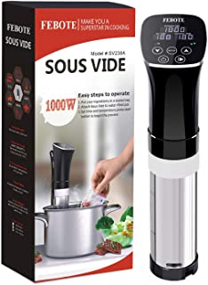 FEBOTE Sous Vide Cooker Immersion Circulator, Fast Heating Meat Cooking (1000W), Accurate Temperature Control, 0-99 Hours Precion Timer, Free Vacuum Seal Bags and Pump, Cooking as Pro Chef
