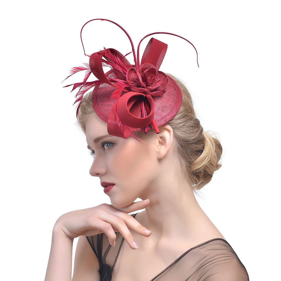 10pcs 16-18inch coarl Red Ostrich feather Stem Millinery fascinator hair clip dance hair accessories