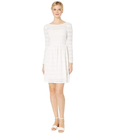 Adrianna Papell Long Sleeve Lace Fit Flare Dress (Ivory) Women