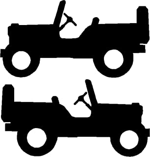 Little Jeep Decal, Jeep Willys Sticker, (Set of Two Decals) Please Message Us for Custom Decals, Colors, and Sizes (H 1.5 by L 3 Inches, Black)