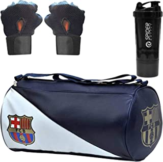 5 O' CLOCK SPORTS Men's Combo of FCB Leather Gym Bag, Gloves and Spider Shake Fitness Kit Accessories (Blue)