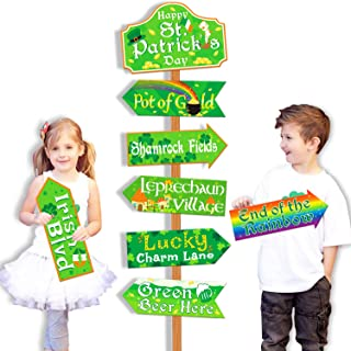 St.Patrick's Day Party Directional Signs Shamrock Irish Welcome Yard Outdoor Wall Sign Saint Patty's Day Party Supplies Ph...
