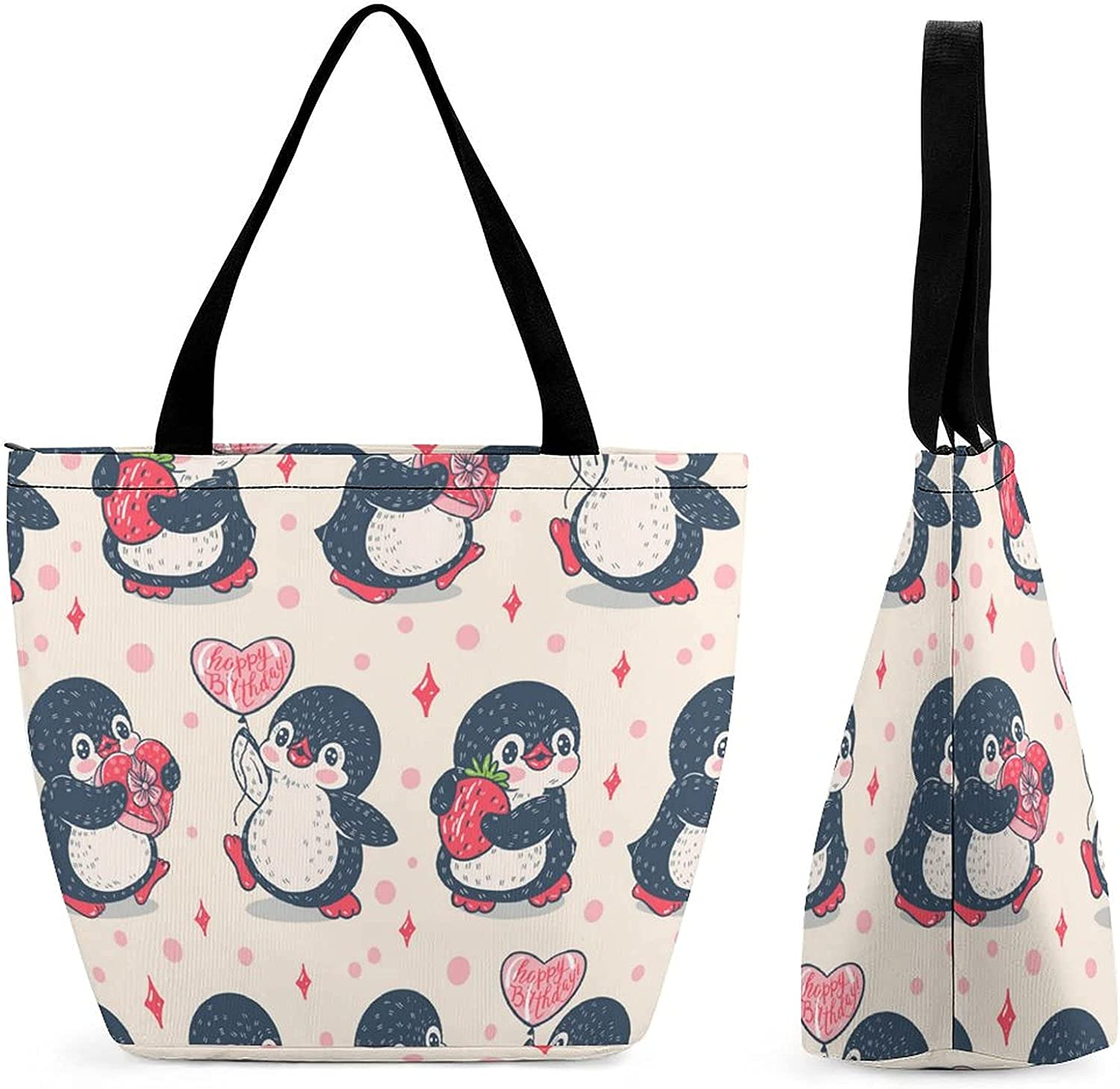 Seamless Max 64% OFF Pattern with Cute Penguins Large Capacity Womens' Popular products Reusa