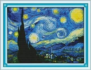 Los kits de punto de cruz china la noche estrellada de Van Gogh Impreso lienzo DMC contados imprimir Cruz-puntada del bordado de la costura ( Cross Stitch Fabric CT number : 14CT picture printed )