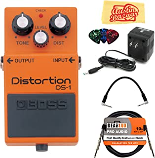 $59 » Boss DS-1 Distortion Bundle with Power Supply, Instrument Cable, Patch Cable, Picks, and Austin Bazaar Polishing Cloth