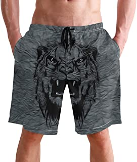 FFY Go Beach Shorts, Vintage Tiger Printed Mens Trunks Swim Short Quick Dry with Pockets for Summer Surfing Boardshorts Ou...