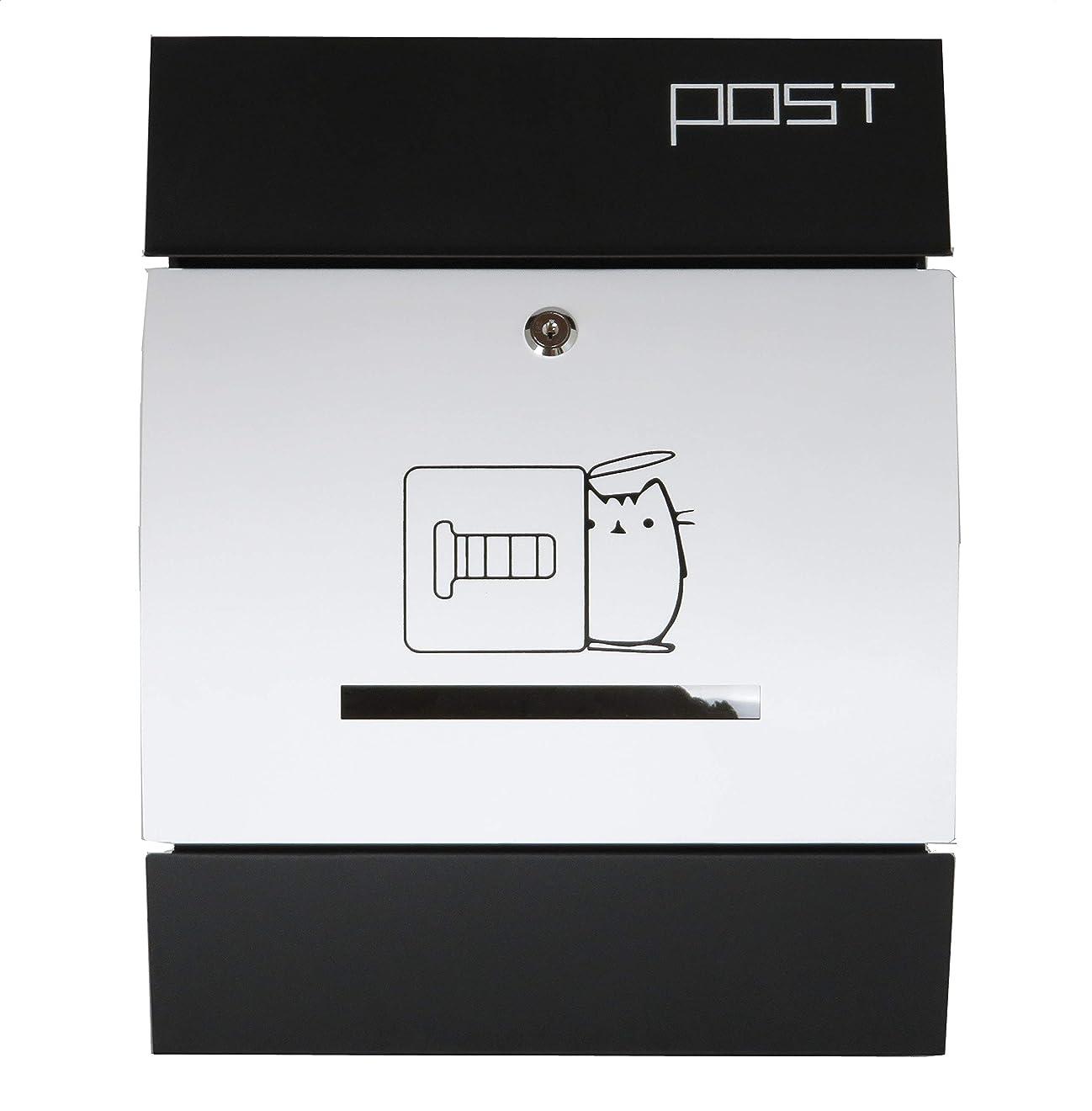 傑作勝利した尋ねるおしゃれな郵便ポスト 人気の北欧デザインメールボックス 大型壁掛け鍵付きマグネット付きホワイト白色猫柄ポストpm197