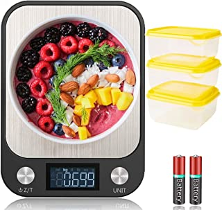 EcoLife Digital Kitchen Food Scale, With 3 Pcs 600ml Food container, Weighing Scale Stainless Steel, Ultra Slim, Large Dis...
